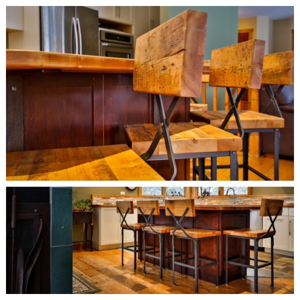 """We collaborated with Metal Mind Forge to great these custom bar stools. We supplied the 2"""" hemlock reclaimed seats/back rests."""