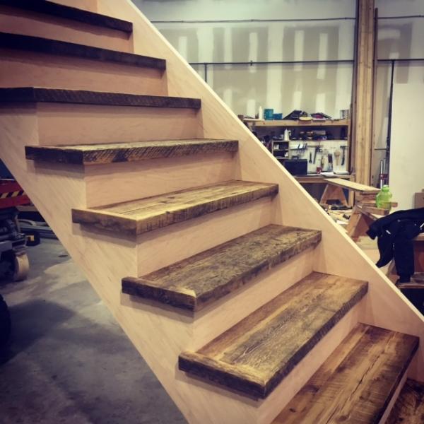 1-3/4 Reclaimed Hemlock treads with paint grade risers & stringers.  Job Location: Toronto, ON