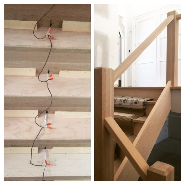 These white oak stairs were custom built with low profile LED lights in the tread overhangs. The one pic of the underside of the stairs shows the lights wired together. We supplied and installed both the stairs and lights/railings.  Job Location: Barrie, ON