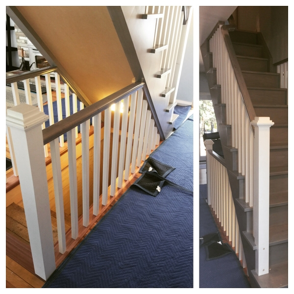 3-1/2 paint grade posts with layered caps, standard maple railing with 1-5/16 paint grade spindles.  Job Location: Muskoka, ON