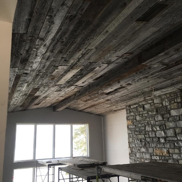 """1"""" grey board dressed - installed on a cathedral ceiling.  Job Location: Innisfil, ON (supply only)"""