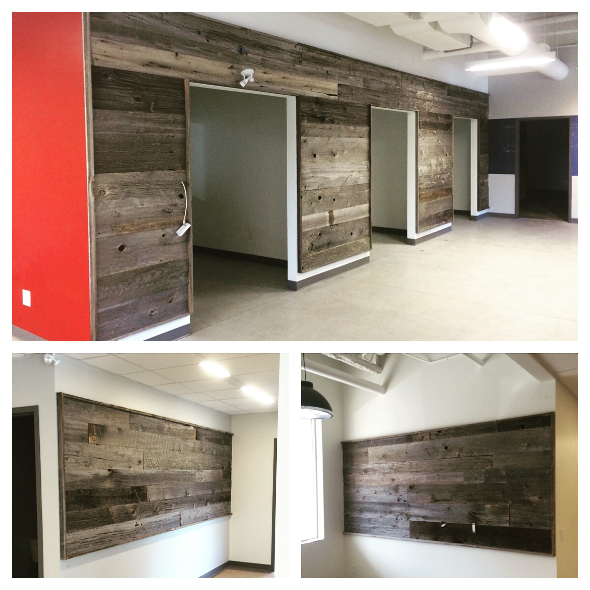 Dressed grey board feature walls.  Job location: Barrie, ON