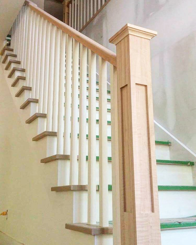 """Stairs and railings supplied & installed by Stairhaus. Standard oak railing with 4-1/2"""" paint grade shaker posts & 1-5/16 paint grade spindles.  Job location: Shanty Bay, ON."""