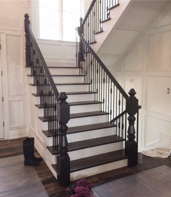 """This is a small portion of a huge job we wrapped up in the hills of Creemore yesterday. This house is CUSTOM, every single detail was carefully planned out and it is one of a kind. Stairs and railings were supplied & installed by Stairhaus. The stairs had white oak treads with paint grade stringers & risers. We used a larger version of our standard railing in white oak, 5-1/2 custom turned white oak Victorian style posts (spun up by our pals @adwoodturning) with TL261-4RD-40 & TL230-2RD-40 wrinkled black round 9/16"""" spindles. Hats off to our installers Mike & Peter for knocking this one out of the park.  Job location: Creemore, ON."""