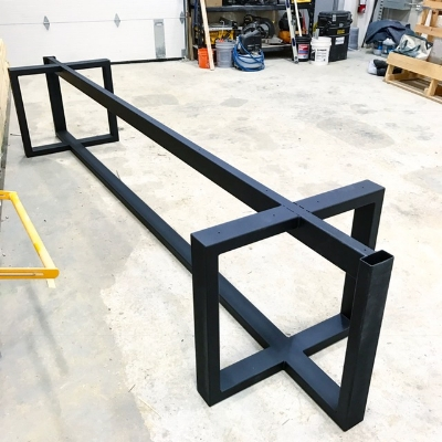 Here is the tubular steel base (designed by our customer) which will hold the walnut top.