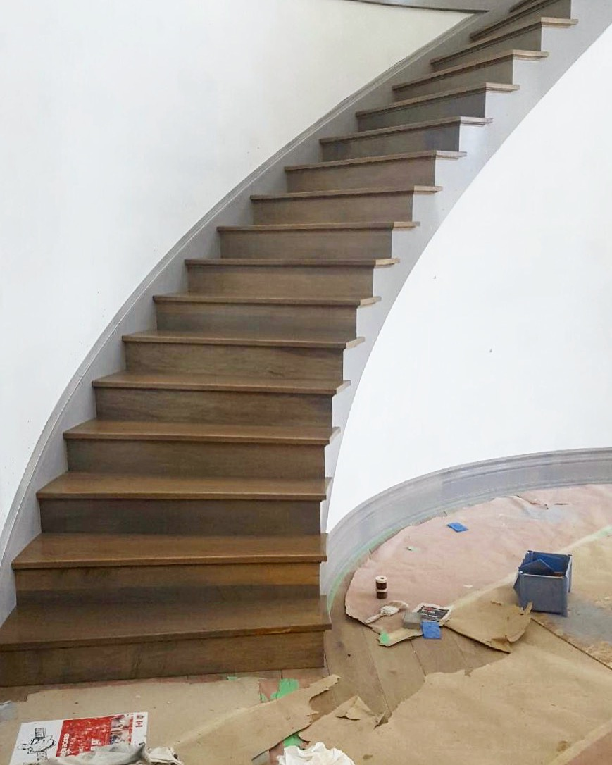 1 of 2 white oak, open 1 side circulars. If you want a GRAND front entrance in your house, this style of stair will make that happen.  Job location: Innisfil, On