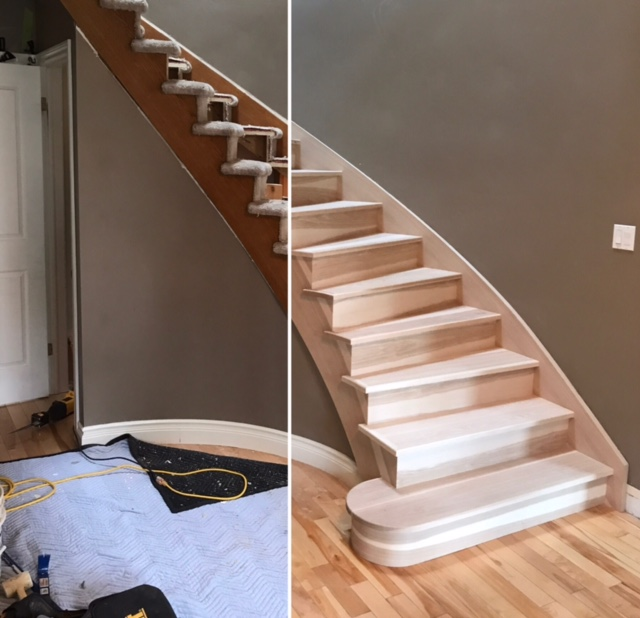 Out with the old, in with the new! Yesterday we ripped out a tired/old carpet grade circular and replaced it with a beautiful hickory stair. This 14 rise, open 1 side stair with a single bullnose turned out amazing and fit like a glove.  Job location: Midhurst, ON