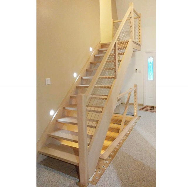 Stairs and railings supplied & installed by Stairhaus. Here we have closed 2 sides red oak open rise stair. We used our 1-1/2 x 2-1/2 flat oak railing, 3-1/2 contemporary posts with our stainless steel cable railing system.  Job location: Innisfil, On.