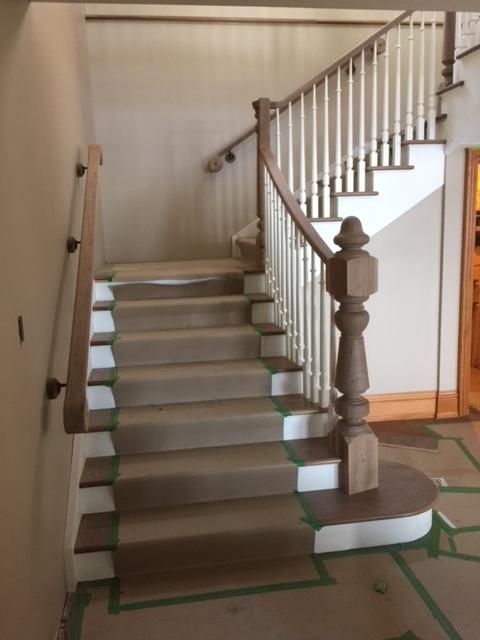 Open 1 side, paint grade stringers & risers - walnut treads.  Job location: Barrie, ON