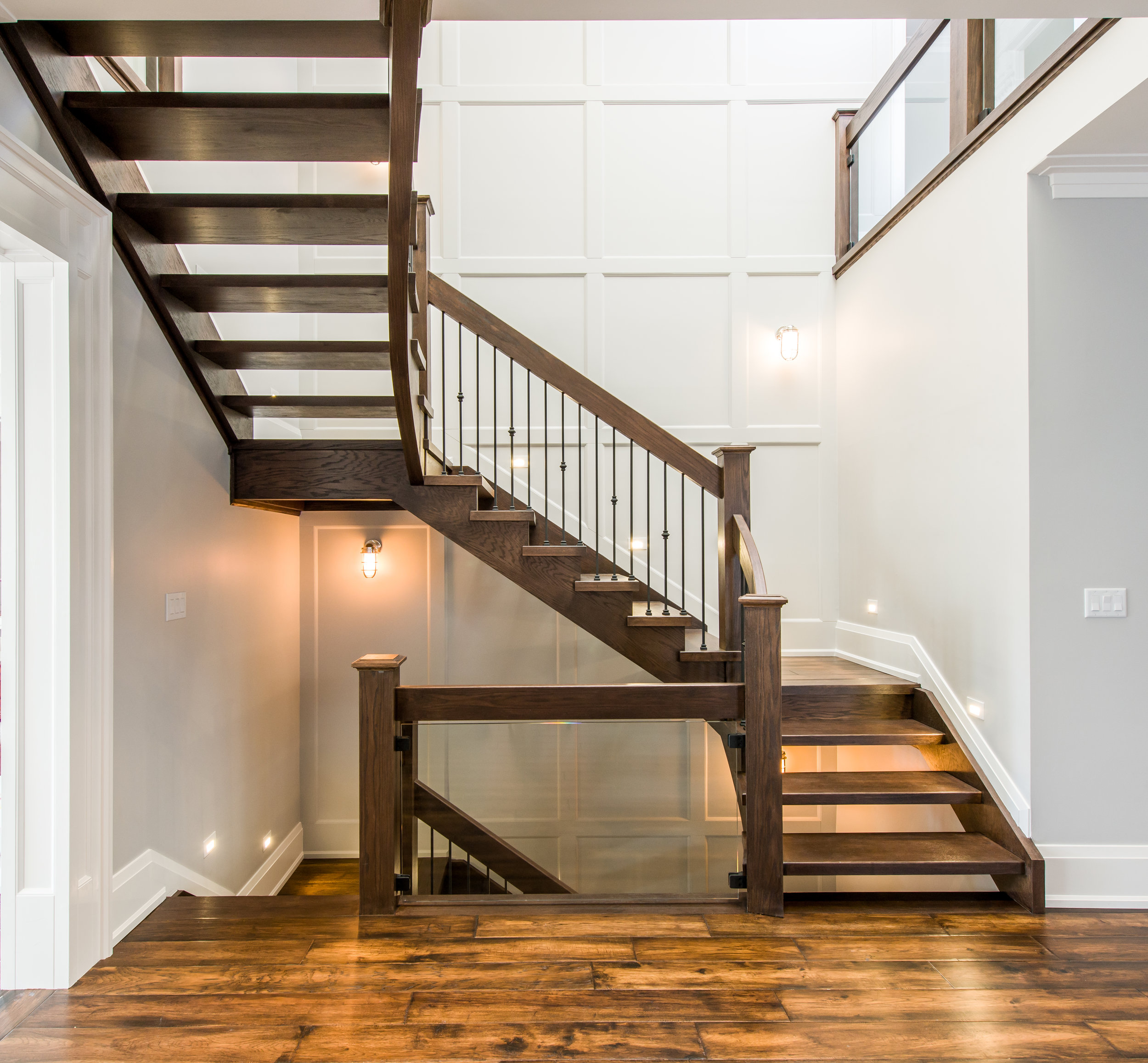 """Open 1 side, self support built in landings with 2-1/8"""" red oak treads (open rise).  Job location: Toronto, ON"""