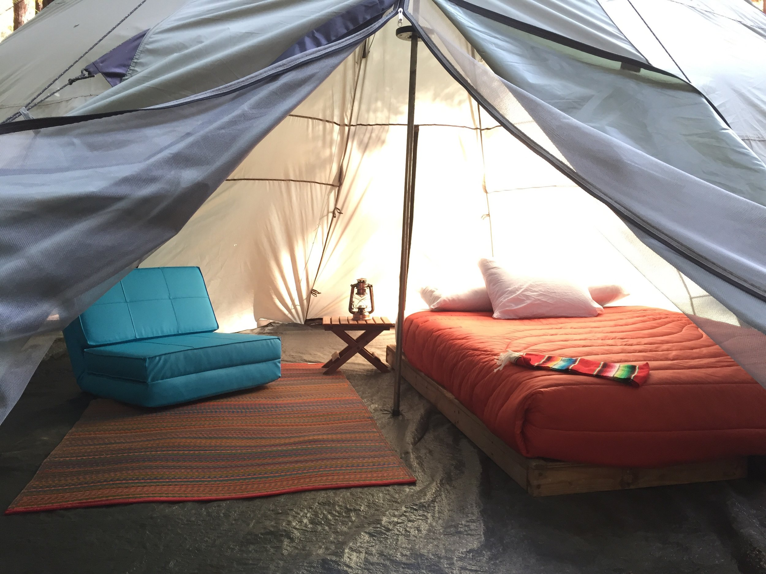 Deluxe Teepee Tents - Ideal for couples, deluxe teepee tents include a queen-size mattress and a roomy interior. Deluxe teepee tents come with linens and blankets.Weekend rate: $175 per person for 2