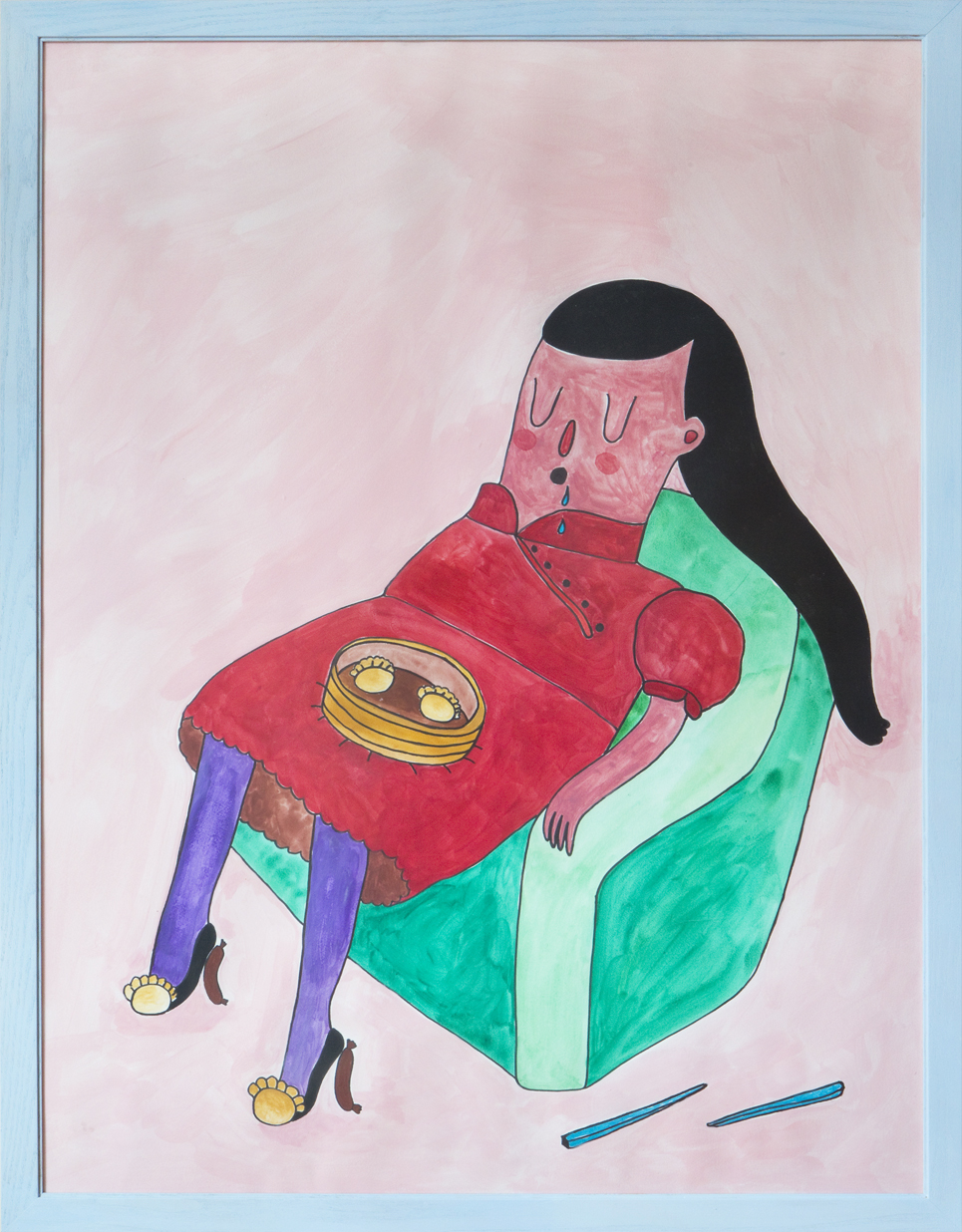 """""""Food Coma"""" gouache on paper, 30 x 40 inches"""