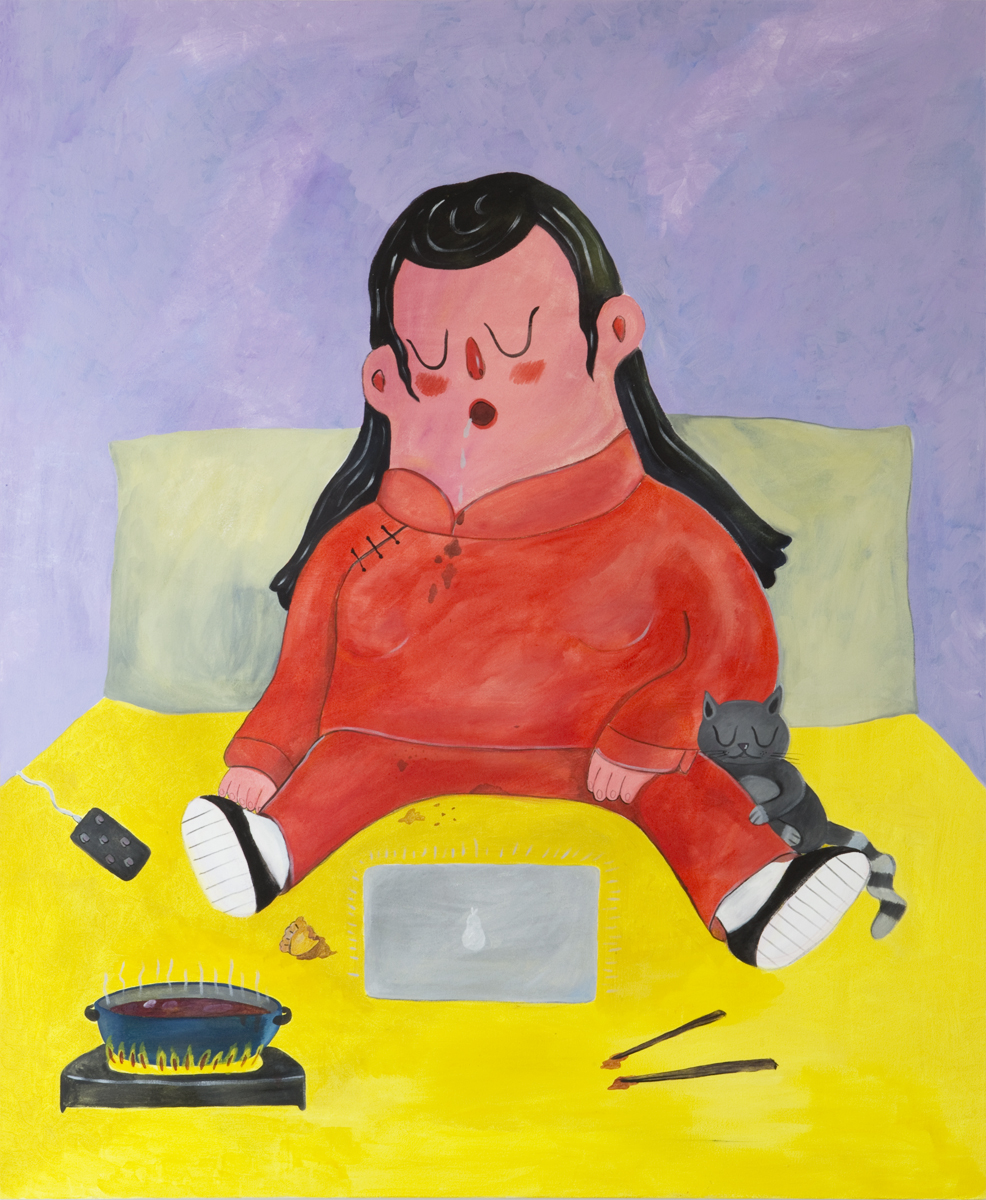 """""""Home Alone"""" acrylic on canvas, 60 x 40 inches"""