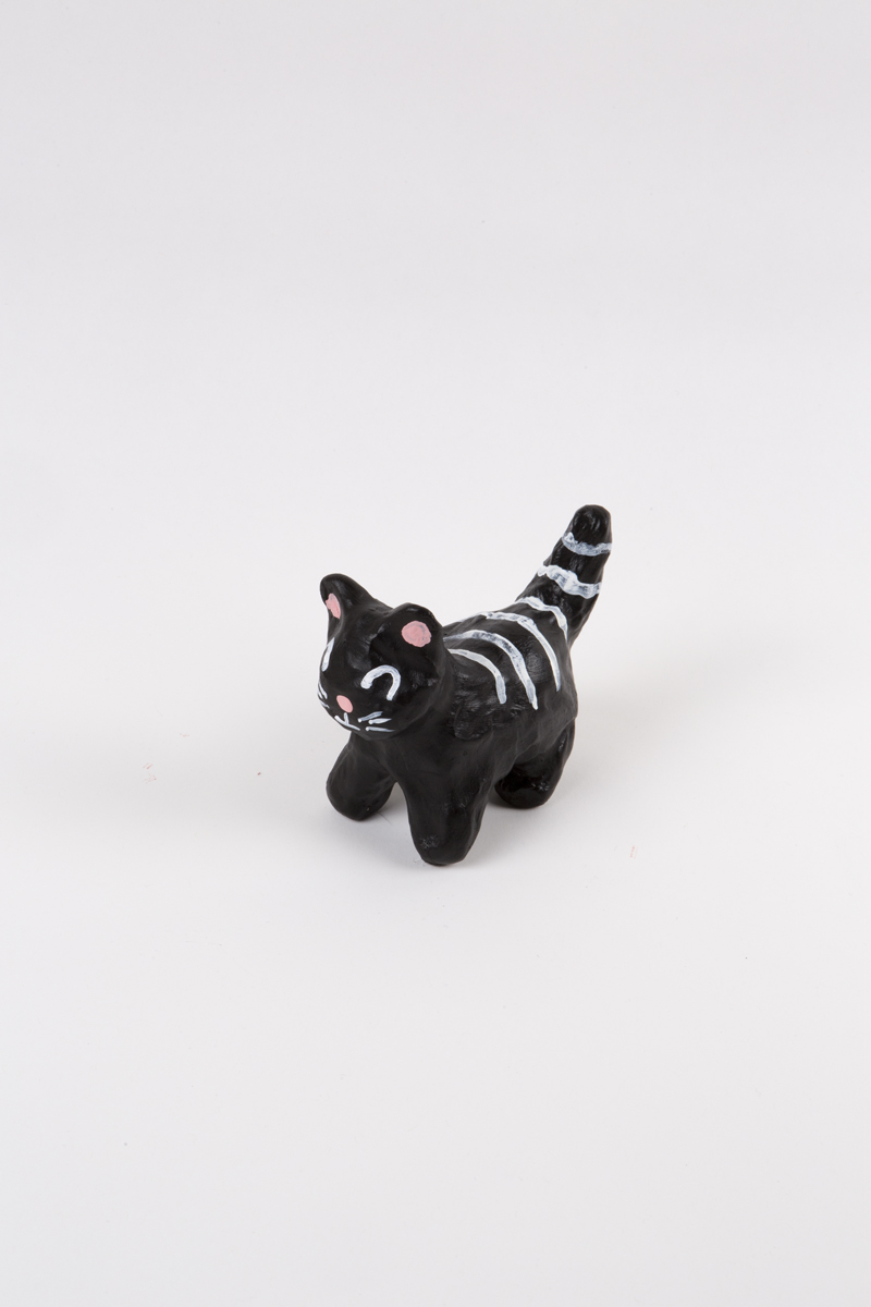 Stray Kitty , 2017 Acrylic on clay 3-1/2 x 2-1/2 x 4-1/2 in