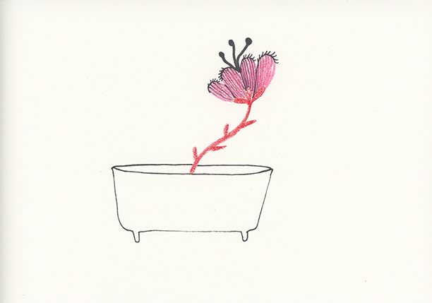 Flower in Bath, colored pencil on paper, 4.5 x 6 in