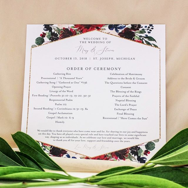 "These 6x6"" ceremony programs coordinated with the wedding invitations perfectly. I love the square...a little different than the normal rectangle shapes program. ⠀⠀⠀⠀⠀⠀⠀⠀⠀ ⠀⠀⠀⠀⠀⠀⠀⠀⠀ Photo by: @emileeroycephotography⠀⠀⠀⠀⠀⠀⠀⠀⠀ ⠀⠀⠀⠀⠀⠀⠀⠀⠀ #weddingstationery #ceremonyprogram #dayofstationery #customweddingstationery #custominvites #mibride #stjoeweddings #catholicweddings #miweddings #milove #geometric #florals #dayof #goldandglitter #program"