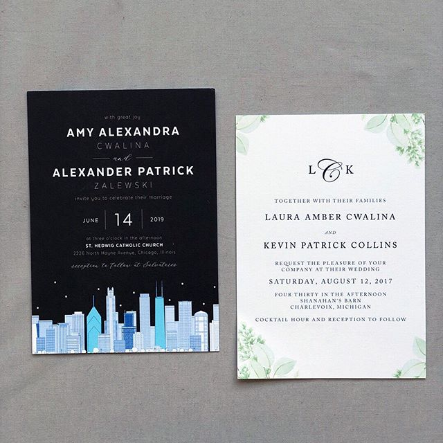 Sister, sister! ⠀⠀⠀⠀⠀⠀⠀⠀⠀ I had the pleasure of designing wedding stationery for these two sisters... @amycwa and @lcwalina Both suites are beautiful in their own unique ways and complement their personalities perfectly. It's funny to think these invites belong to two sisters, but couldn't be more different. And I love it. ⠀⠀⠀⠀⠀⠀⠀⠀⠀ #sistersister #oppositesattract #citylife #chicagoweddings #chicagobride #nightlife #charlevoixweddings #shanahansbarn #upnorthweddings #barnwedding #familymatters #polaropposite
