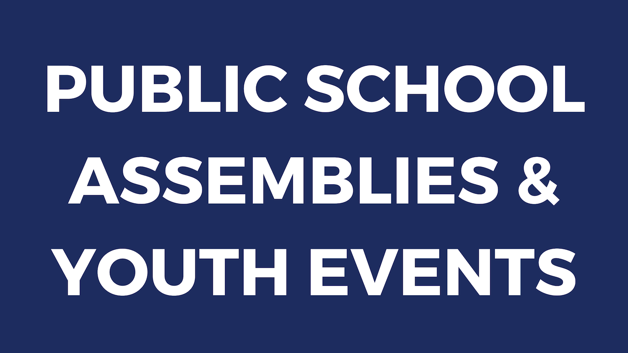 Public & Christian School Assemblies, Youth Conferences, Camps, Rally's, Retreats, etc.   Click here for a secular public school one sheet to use in marketing to the local public schools in your community.