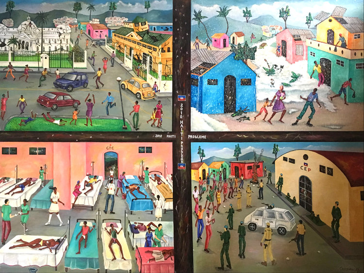 "2010 Haiti Probleme l Widson Cameau l 30"" x 40""   This painting, completed in 2011, depicts recent tragedies in Haiti's modern history. The four panels respectively illustrate impacts of the earthquake, flooding from hurricanes, the cholera epidemic, and political protests.  In order to continue sharing the depth and meaning of this historic piece, it has become a permanent fixture in our collection."