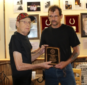 Photo above (L-R) Bucky Hatfield, 1992 HALL OF FAME inductee presents the 2016 inductee award to his former student Jon Roach of Tennessee with his award on October 8th, 2016.  A proud occasion for both!