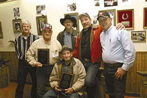 2004 Hall of Fame & friends (L-R) Tony Phillips, John Marino, John Burt, Ralph Casey, Bucky Hatfield & seated is 92 year old Blacksmith Jud Nelson.