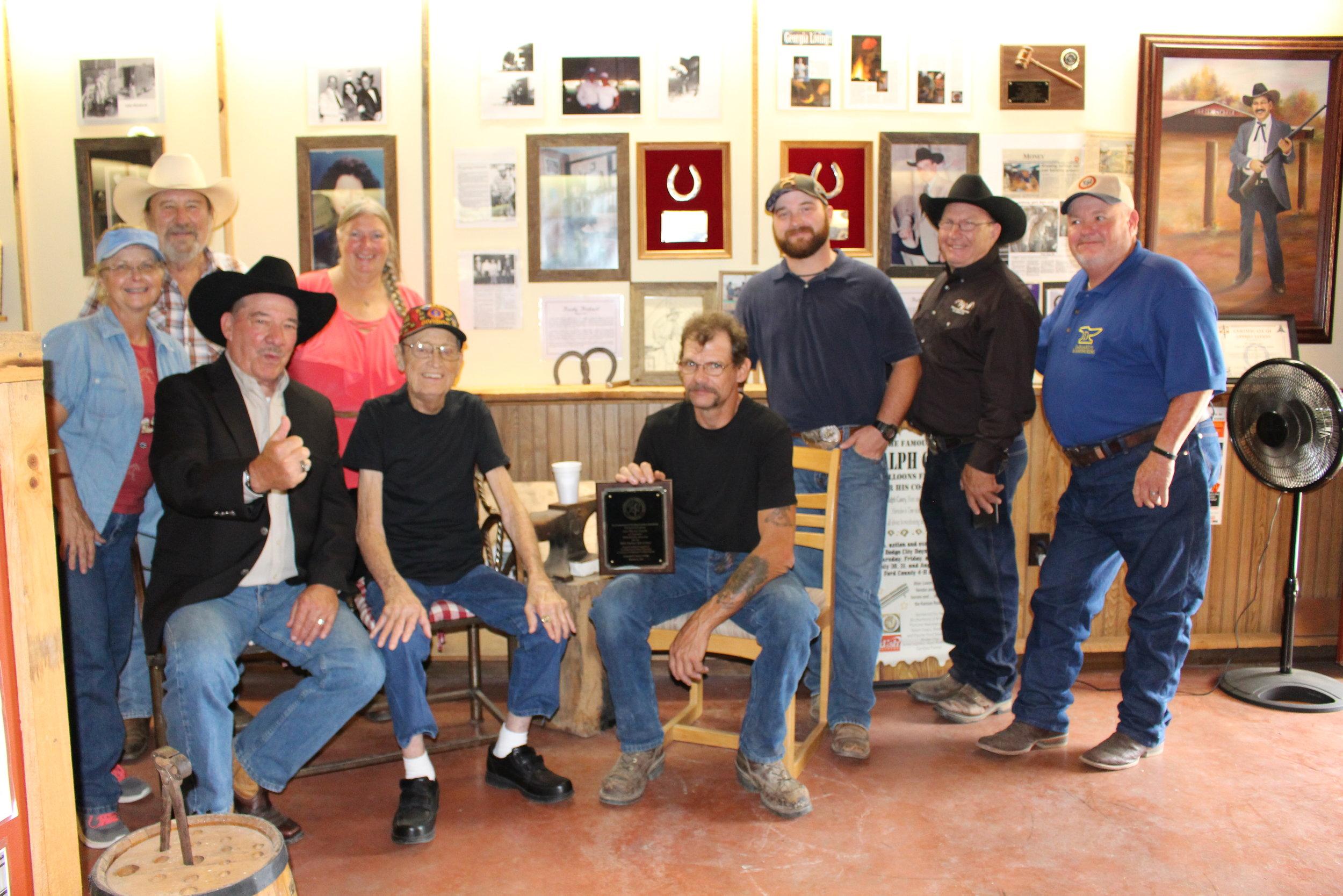 2016 Hall of Fame (L-R) Ginger Casey, Billy Fortner, Kathy Fortner, Ralph Casey, Bucky Hatfireld, Jon Roach, Link Casey, Dan Marcum, Ronney Deboard.