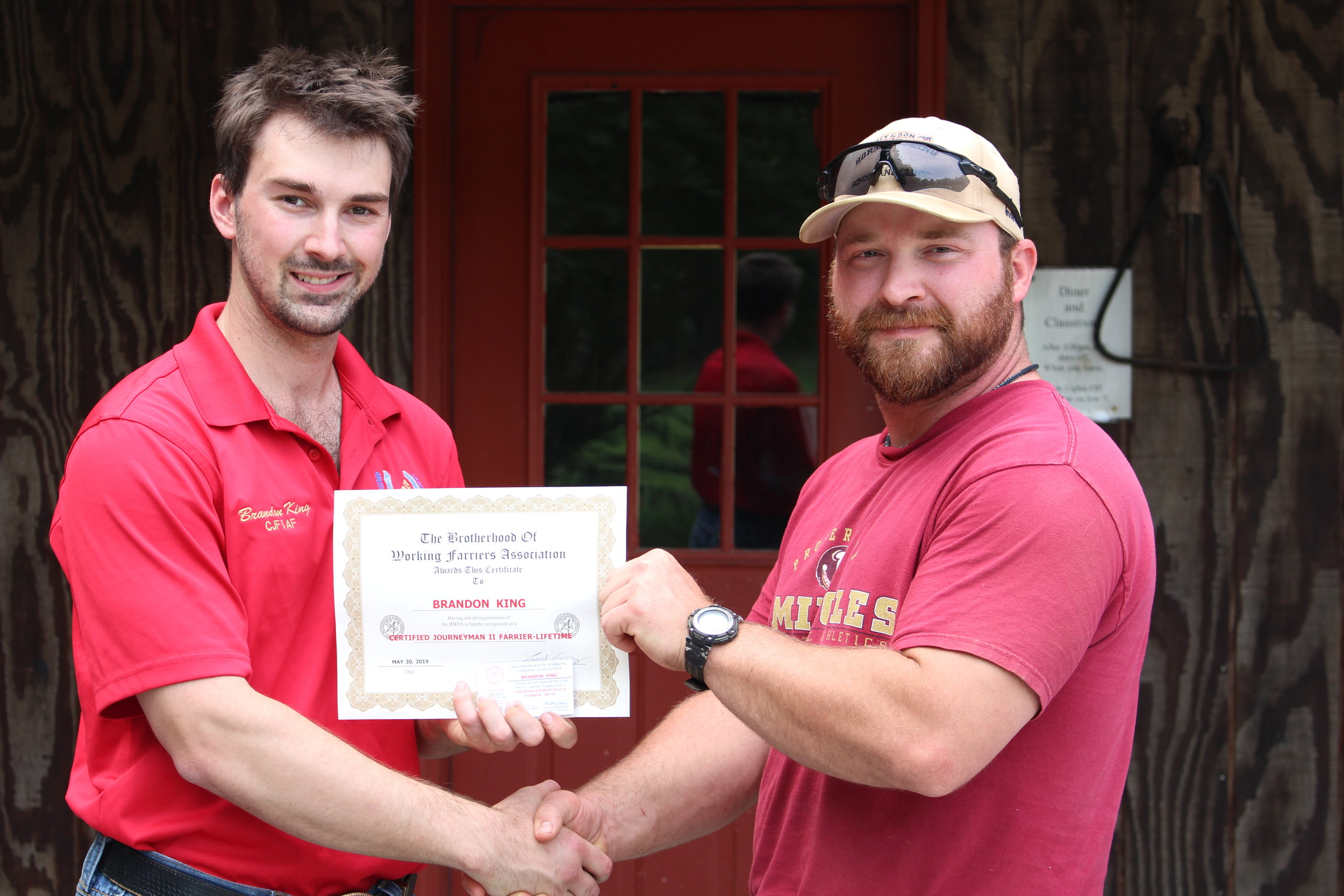 BWFA Member Brandon King of Ohio & 2015 farrier graduate returned to the BWFA Headquarters to upgrade his Farrier Certification to the Journeyman II Level. 5.30.2019.JPG