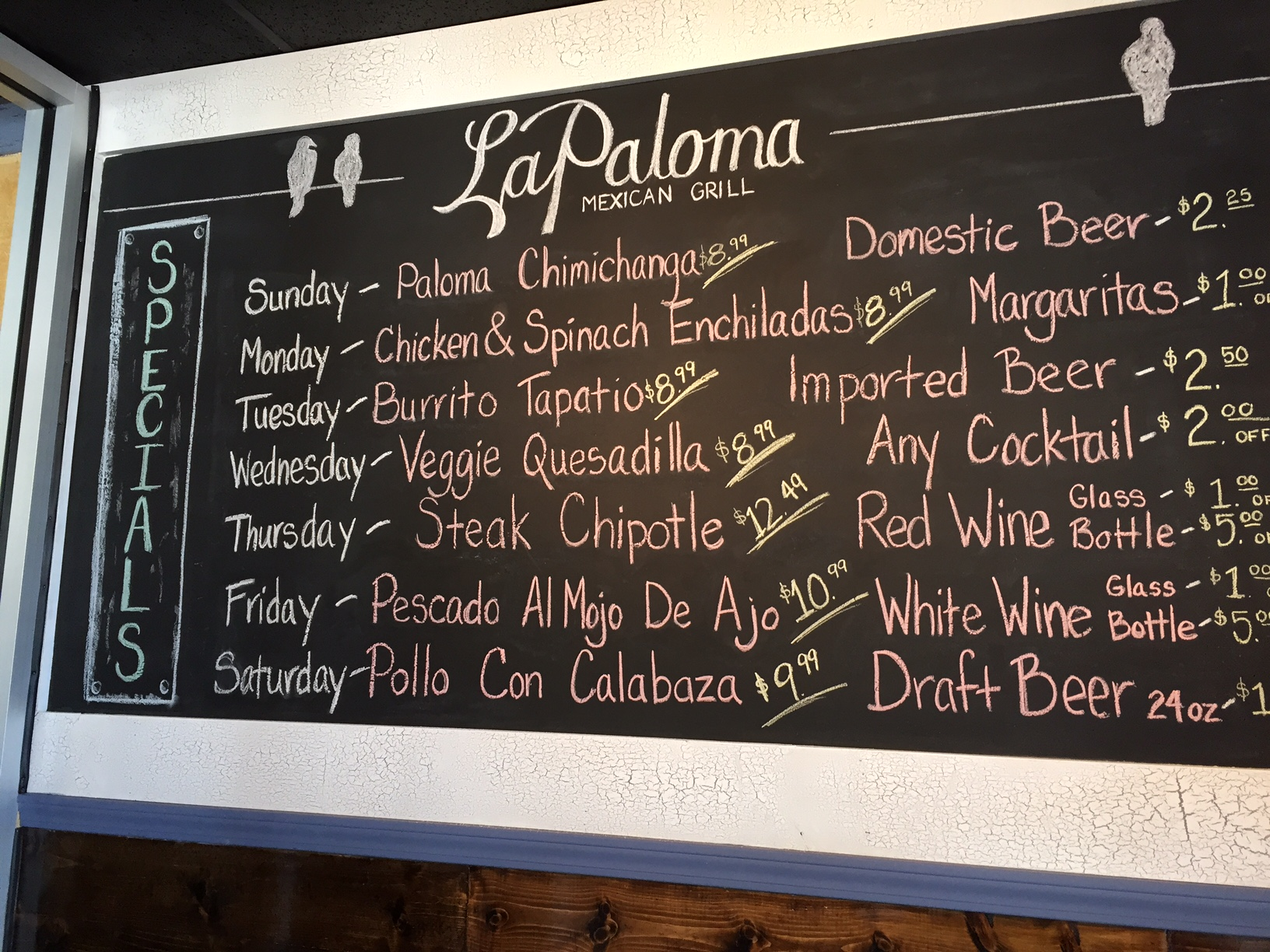 Daily food and drink specials.