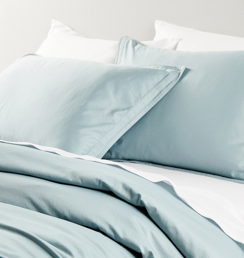 the sateen bed - Designed for Rejuvenation and made with 100% organic 500-thread count cotton sateen, crafted at a family-owned factory in the Guimarães region of northern Portugal. This bedding is GOTS-certified for sustainable craftsmanship at every step of production, from non-GMO seeds to non-toxic processing.