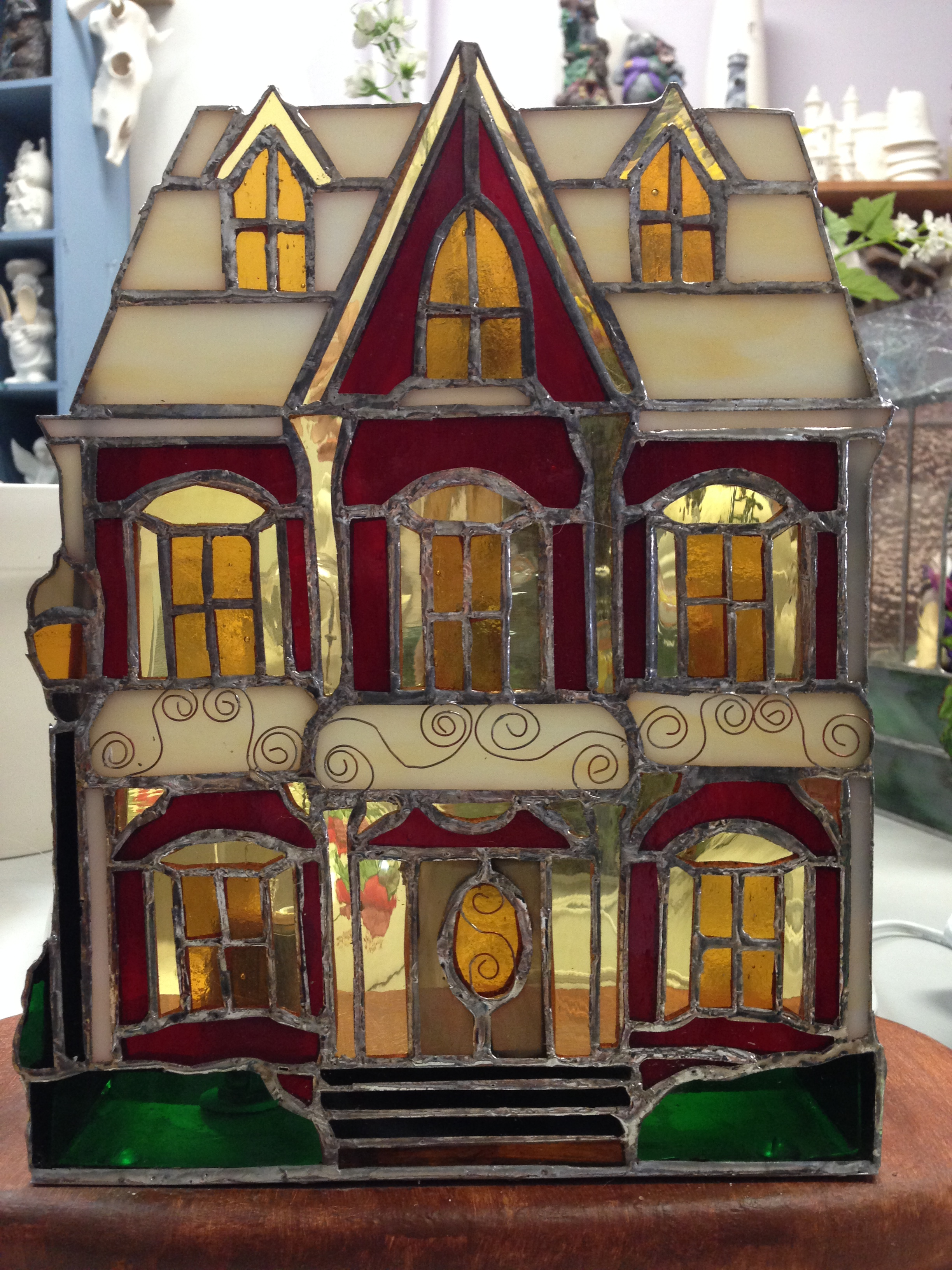 Val's Magnificent Stained Glass House with Wire details.