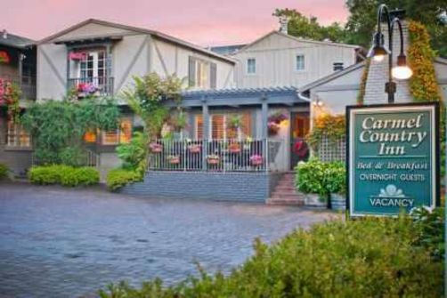 Carmel Country Inn  Dolores & 3rd (831) 625-3263 • (800) 215-6343 •  website   Our Carmel Bed and Breakfast style inn features Spacious Suites & Romantic Studios all with Fireplaces & Luxury Baths, surrounded by colorful flower Gardens, where your pets are always welcome.