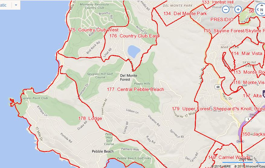 MLS areas for Pebble Beach