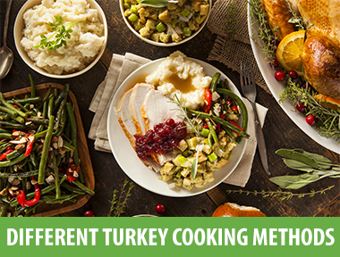 The classic way to cook turkey is to thaw a frozen bird, stuff it, then roast it. This method, while certainly a nice presentation, can often result in a poor outcome. The breast is often overcooked by the time the dark meat is done, the dark meat can be soggy because of the physics of the turkey shape, and there can be concerns with food safety.    So here are some different ways to prepare your Thanksgiving turkey.     Make Ahead of Time        Mary Frances wrote me and said this is how she cooks her turkey. She roasts it a day ahead of time, then makes the gravy with the drippings. She then slices all of the meat, places it in a large pan, covers it with gravy, and refrigerates. The next day all she has to do is finish the other  side dishes  and heat up the turkey in the gravy. Moist meat, no hassle, and a lot less work for you! Sounds like a plan!      Brine Turkey         Brining the turkey has become almost commonplace. The brining process forces liquid and seasonings into the turkey meat, making each bit flavorful and tender. You have to plan ahead for this method since the turkey has to be kept cold while it's brining. A cooler will keep the bird at the correct temperature, but the refrigerator is the safest bet. You can keep the turkey on ice if you're brining under two hours.    Roast turkey parts     Deconstruct your turkey and roast the parts separately.    With this method, you can alter the proportions of dark to white meat so there's enough for everyone. This method also ensures that the white meat is as tender as the dark. A boneless turkey breast will cook for a shorter time period. And if you cook a bone-in, skin-on turkey breast, it will take about 2 hours to roast, about as long as the bone-in legs because of the different sizes and weights.    The thighs cook for the shortest time period, so add them 30 minutes after the breast and legs have started.     How to Roast a Turkey Breast, Step by Step      Turkey Breast      Turkey Legs      Turkey Thighs     Cook your stuffing in the crockpot for the complete turkey experience if you choose this method.    Crockpot Turkey     The crockpot is a great place to cook turkey breast. You can add stuffing or vegetables to the slow cooker for another course, which makes everything easier on you. I like to cook boneless, skinless turkey breasts in the crockpot, but you can cook any turkey part (except a whole bird) as long as you test the final temperature with a meat thermometer.      Cook the Turkey Frozen         I've been pushing this method for a few years now, and this is the way I cook my turkey. I love the fact that the breast meat is moist when the dark meat is done because of the turkey's physical structure, and that I don't have to fool around with thawing. This is also the safest method because you are scattering raw turkey juices all over as you struggle with the unwieldy bird.      Grill Turkey         Cooking the turkey on the grill is a wonderful way to free up your kitchen and give the bird fabulous flavor. Remember, you can grill in any weather - even in the snow!    Just make sure that your grill keeps a constant temperature throughout the cooking process. Use a grill thermometer and occasionally add coals if you're  using charcoal .      Deep Fry Turkey         Deep frying results in a turkey with super crisp skin,  moist meat , and a fabulous flavor. I've never attempted this, since I'm happy with my methods, but it's certainly a good way to cook a turkey. However, Underwriter Laboratories won't certify any turkey fryers because of problems with fire, even after the fryer manufacturers have made improvements.    So if you want to  deep fry  a turkey, be very careful. Only attempt this outside, away from buildings or flammable material, and keep several fire extinguishers on hand.      Roast a Chicken!         For smaller families, roasting a chicken is a wonderful idea for Thanksgiving. You get almost the same aromas and flavors, and you can stuff a chicken.    I, however, prefer to roast it with lemon and garlic, and cook  stuffing in the crockpot  again.     Happy Thanksgiving!