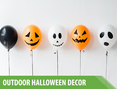 "10 Best Outdoor Halloween Decorations to Spellbind Every Trick-or-Treater    These boo-tiful Halloween ideas will make your home the talk of the town.     1) Bookish Outdoor Halloween Decorations   Haunting book jackets make for a spine-chilling entrance. You can easily make these yourself using  construction paper , some letter stencils, and a bit of gold craft paint.   Make the Books:       Cut long, thin rectangular pieces of differing colored kraft paper or construction paper (we used red, gray, and black). Draw titles of books on the paper. Outline letters with gold paint pens. Fill in outline with paint pen or gold acrylic paint. Attach to door with double- sided tape.     2) Pumpkin General Store Porch Decor   This fully outfitted ""mercantile"" (of the front porch variety) features all your favorite general store standbys—penny candy, checkers games, homemade honey and jams—but in pumpkin form! Your trick-or-treaters won't be able to get over the creativity of this setup.   Make Pumpkin Checkers: Paint 32 squares on a large (roughly 30-inch) wood board with    burnt orange craft paint   . Use mini white and orange pumpkins as game pieces.     3) Broom Halloween Door Decorations   Pay homage to everyone's favorite Halloween character with this fun idea. All you need are a few vintage brooms and a witchy attitude to make it happen!   Assemble the Brooms: Drill a small hole in the handle of two large outdoor brooms. Hammer five small nails in front door. Hang two brooms, right sides up, through holes. Hang a third large broom and two small ""witches' brooms"" by threading the bristles over the remaining three nails.     4) Recycled Jar Jack-o'-Lanterns   Got some old spaghetti sauce jars lying around? Then you're halfway to creating this adorable vignette.   Get the tutorial at    Not So Idle Hands   .     5) Monster Halloween Front Door Decor   Kids will get a kick out of this DIY scowling monster.   Get the tutorial at    Modern Day Moms   .    6) Outdoor Halloween Lanterns   An array of festive lanterns will create a warm and welcoming effect for guests.    Get the tutorial.     8) Pretty in White   Spooky black-and-orange decorations aren't your thing? Try this pretty alternative: Place white chrysanthemums and ornamental cabbage in cream-colored  apple baskets  on your front lawn, and surround with white pumpkins and gourds. (Note: For a similar look minus the danger, lanterns and jack-o'-lanterns should always be lit with battery-operated lights, like these  LED votives .)   9) Bat-Filled Front Door   These felt bats are easy to make and ensure your house looks extra spooky. All you need to do is trace a bat shape onto a piece of felt and cut it out. Repeat until you have a swarm of them!   10) Pumpkin Greeting   Spell out your greeting in mini pumpkins gathered on your porch.   Step 1:  Pencil letters on hollowed pumpkins (carve out the opening from the bottom).   Step 2:  Using a drill with a half-inch bit, bore holes to form each letter.   Step 3:  Hang strings of Christmas-tree lights, gathered in small bunches, to illuminate each pumpkin (unscrew bulbs where the string descends to the next row)."