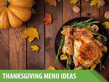 3 Thanksgiving Menu Ideas for the Most Delicious Feast Ever  Looking for the best Thanksgiving menus around? We've got something everyone will love.    1) Classic Thanksgiving Menu   This classic Thanksgiving menu has all the entrées, starters, and sides you've been looking forward to since, well, last Thanksgiving! It's chock full of tried-and-true favorites, all of which have been upgraded to ensure maximum flavor and deliciousness. Let's just say we'd be surprised if your family doesn't fall hard and fast for these Thanksgiving menu ideas.   Main Course:    Seasoned Roasted Turkey  with  White Wine and Rosemary Gravy    Sides:    Fresh Herb Stuffing Composed Waldorf Salad   Scalloped Oysters   Corn Salad With Bacon and Honey   Sweet Potato Casserole with Homemade Marshmallow   Broccoli and Cauliflower Gratin   Parker House Rolls    Dessert:    Pecan Slab Pie   Double-Crust Apple-Cheddar Pie     2) Easy Thanksgiving Menu   This year, do yourself a favor with blessedly simple recipes that deliver on flavor while still allowing you time to, say, sneak a nip of bourbon with grandpa (don't forget the  glassware  and  whiskey stones !).  Woven placemats  look elegant yet fuss-free. Roll out a runner, light some  candlesticks , and add a  bouquet  to complete the quick and easy  table setting .   Main Course:    Turkey Roulade Three Ways    Sides:    Rosemary Monkey Bread Stuffing Brussels Sprouts Gratin   Slow-Cooker Mashed Potatoes   Sweet Potato-and-Cauliflower Salad    Desserts:    Sweet Potato Snickerdoodles Pumpkin Cheesecake with Cookie Crust   Grape Slab Pie     3) Vegan Thanksgiving Menu   Guests who forgo all animal products can still enjoy a decadent Thanksgiving dinner. Our vegan menu makes going meat-, dairy-, and egg-free easy for everyone at the table.   Starters:    Vegan Stuffed Mushrooms Thanksgiving Harvest Salad    Main Course:    Whole Roasted Cauliflower    Sides:    Dairy-Free Mashed Potatoes   Vegan Mac and Cheese    Dessert:    Vegan Pumpkin Pie