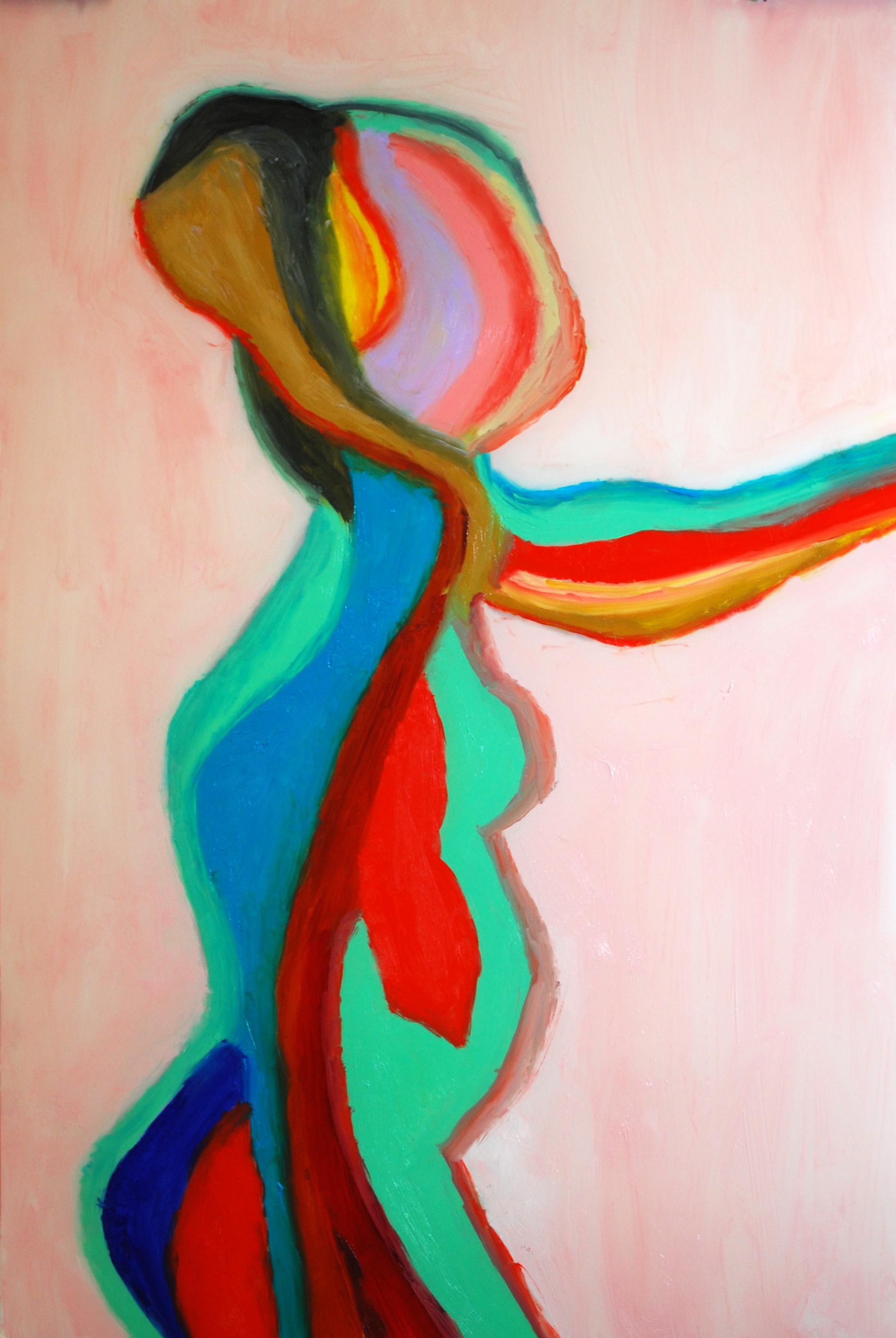 """X-Ray Lady""  Oil on Mylar 18x12"