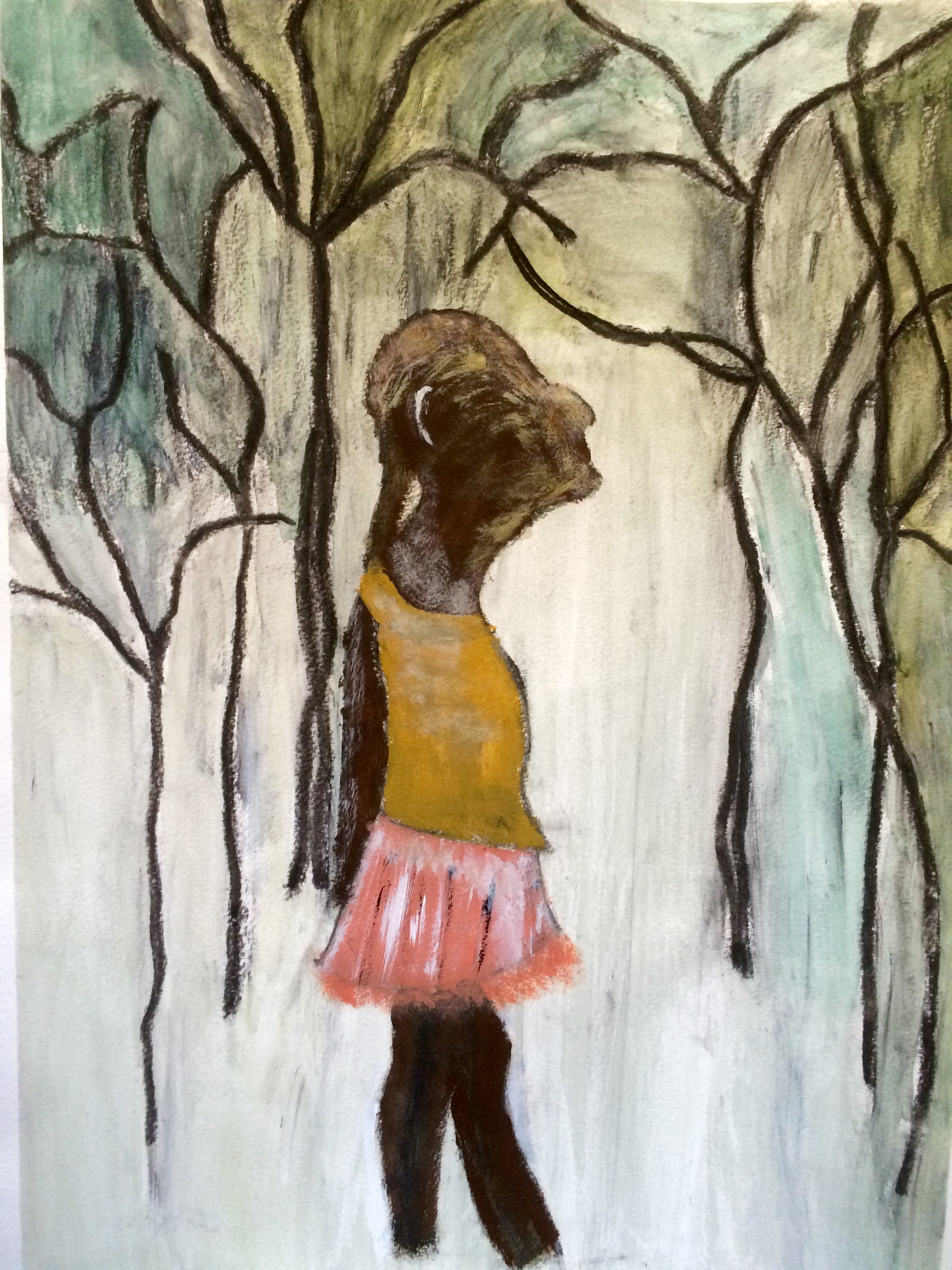 """""""Lost in the Forest""""  Charcoal & Acrylic 24x18"""