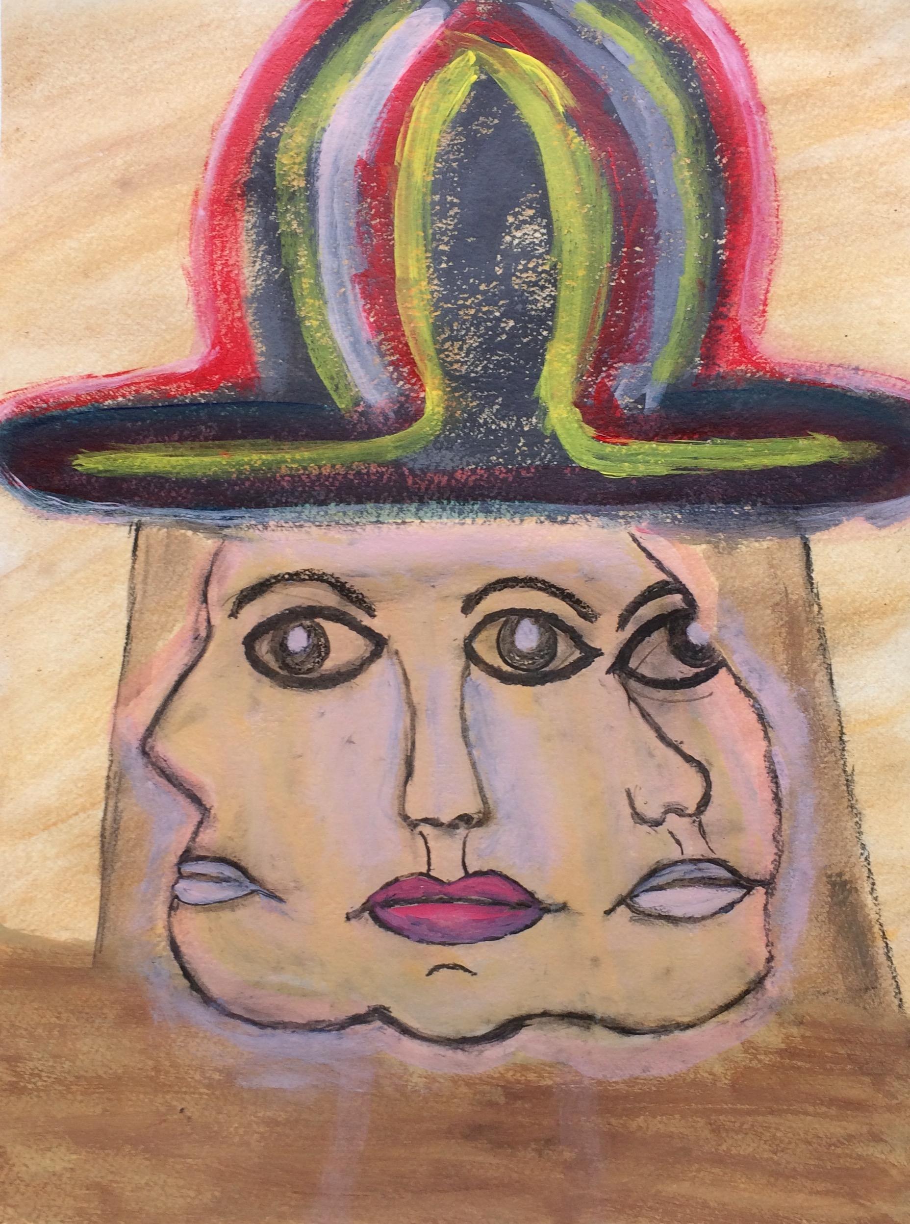 """Hat Trick"" Acrylic & Charcoal 24x18"