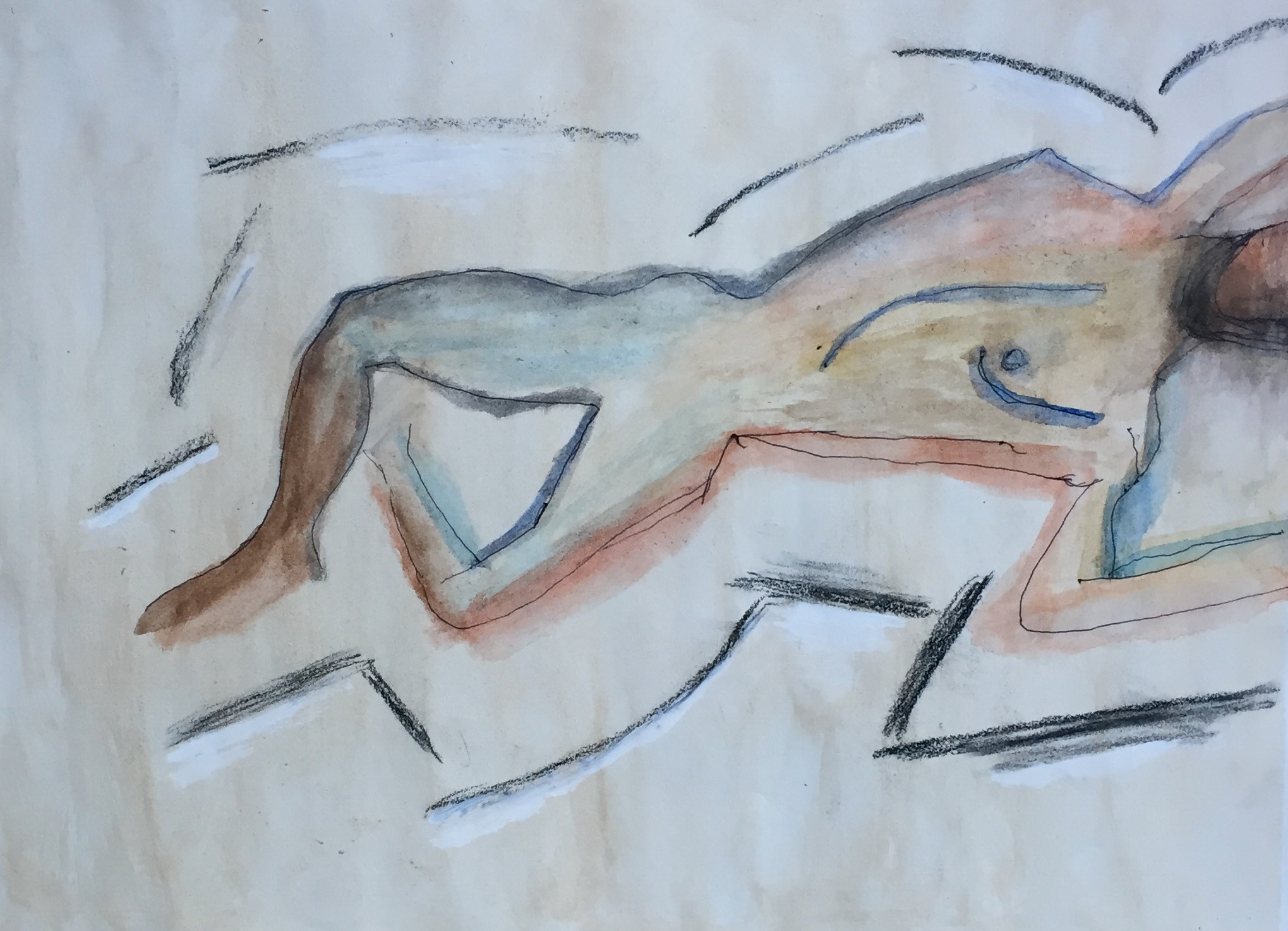 """""""Reclining Nude"""" Watercolor & Ink 11x15"""