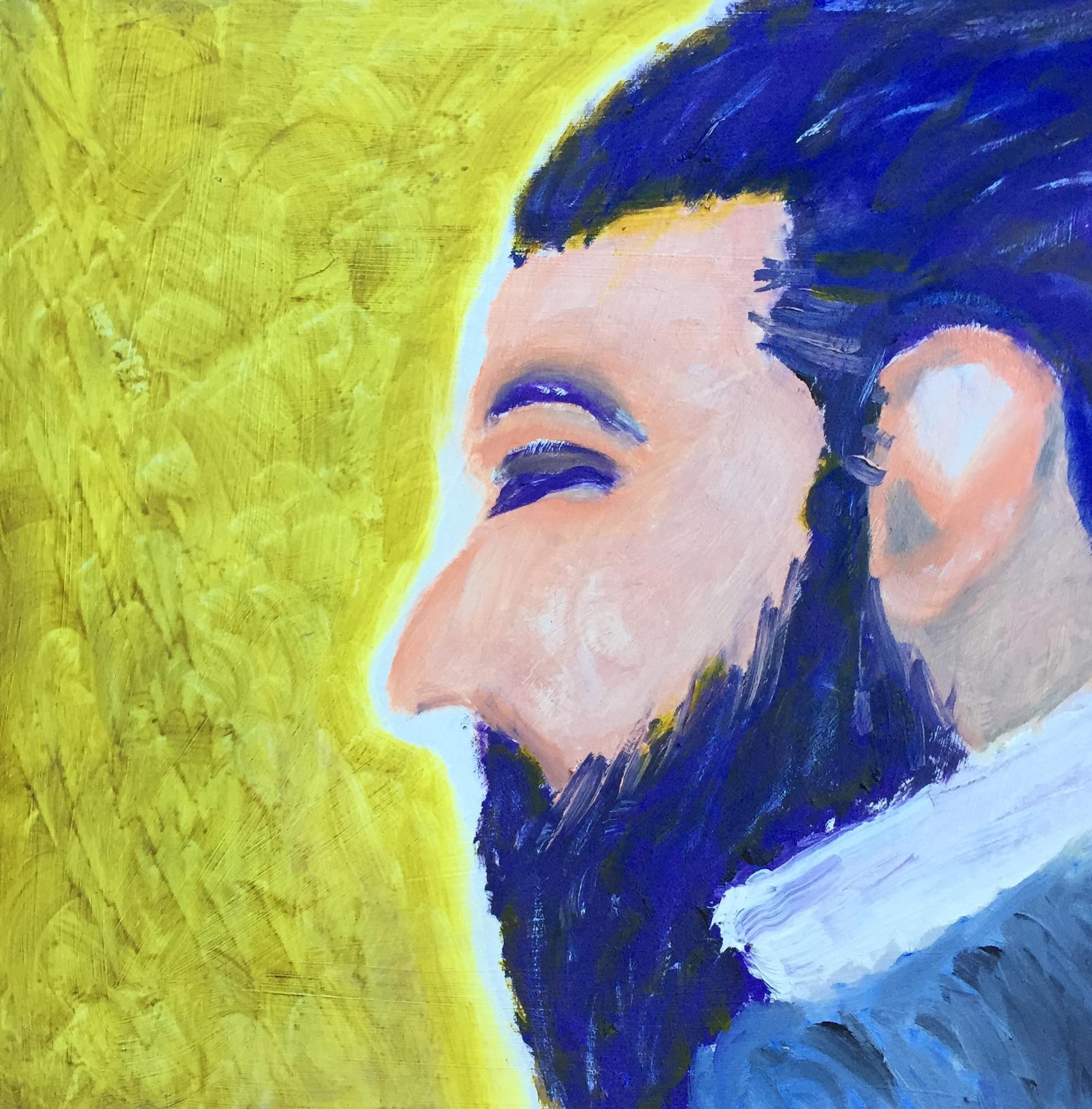 """""""Bluebeard"""" Oil on Wood Panel 12x12"""