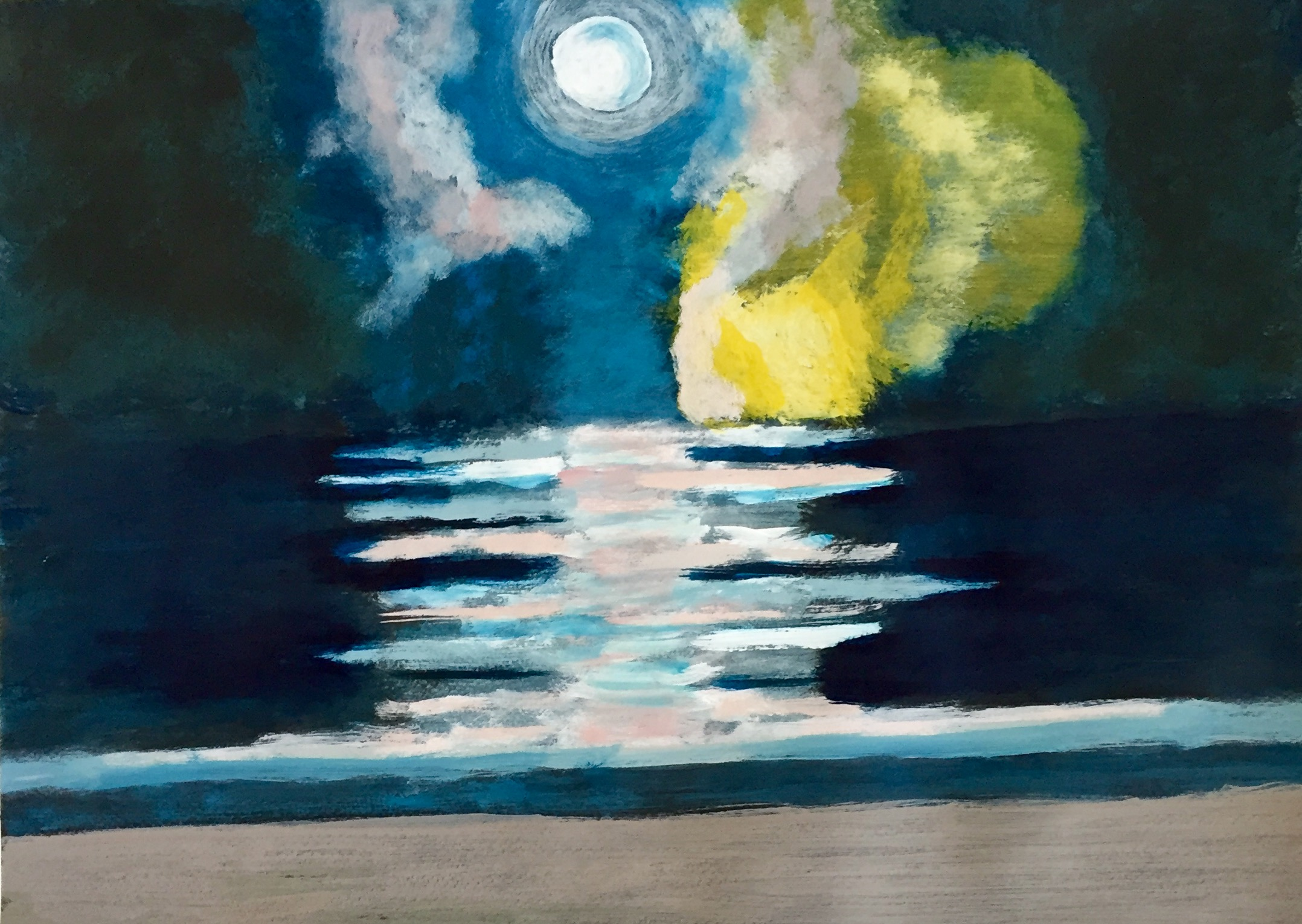 """Moonlight Drive"" Acrylic On Paper 18x24"