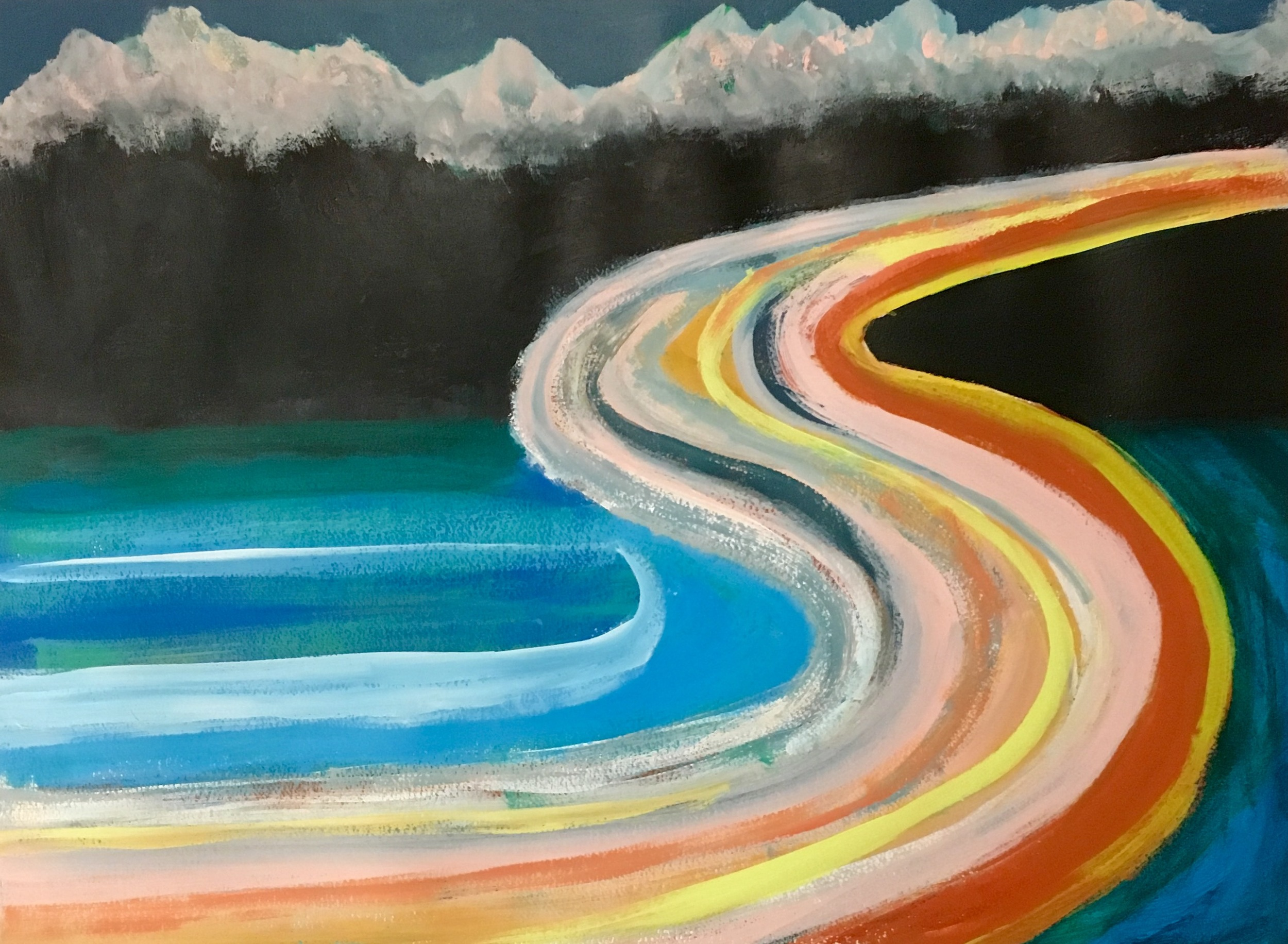 """""""Highway 61 Revisited"""" Acrylic on Paper 24x18"""