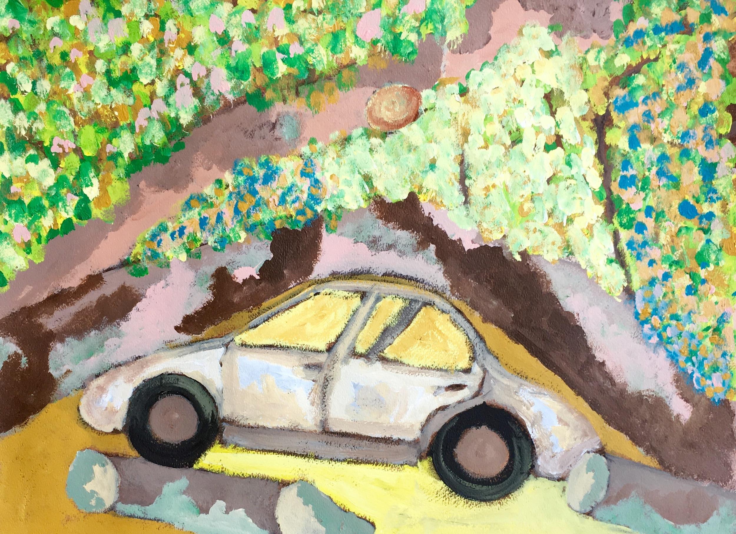 """Junkyard Dog"" Acrylic On Paper 18x24"