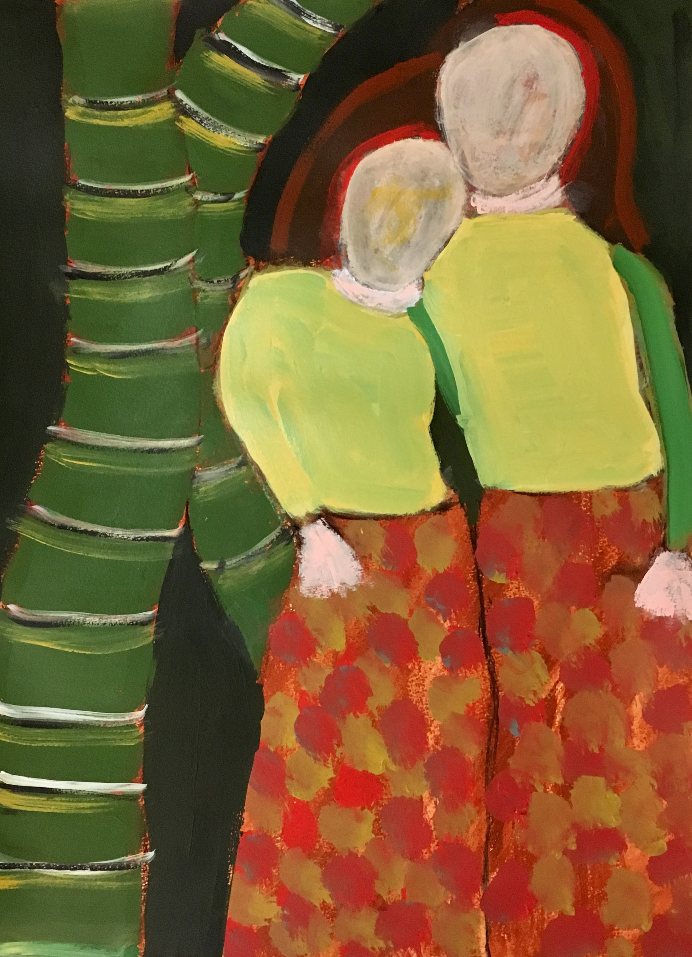 """""""Twins"""" Acrylic On Paper 24x18"""