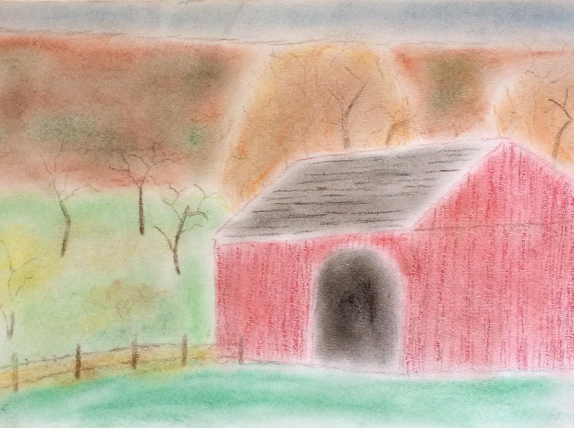 """Cobble Barn"" Pastel & Pencil 9x12"