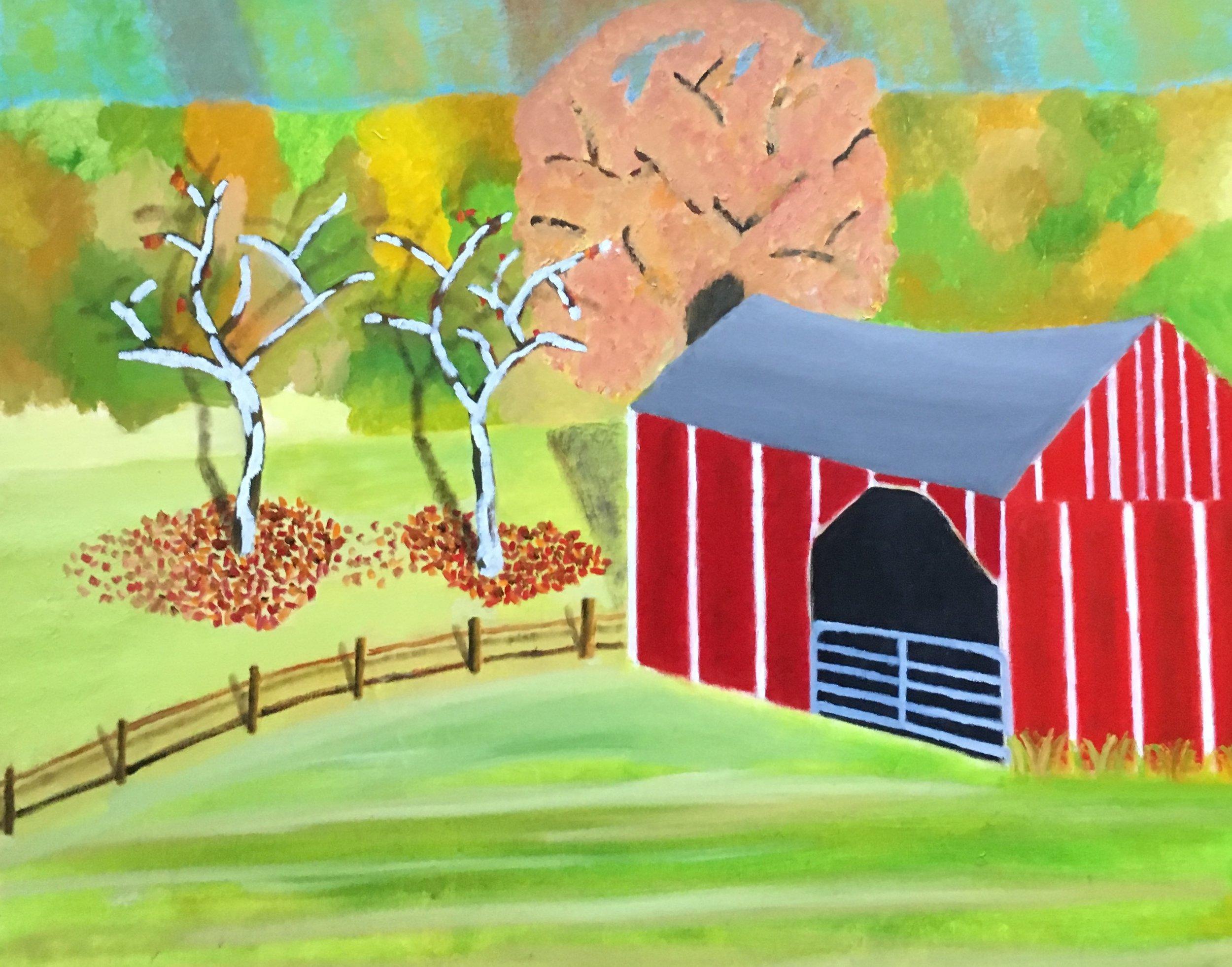 Cobble Barn Oil On Canvas 24x30