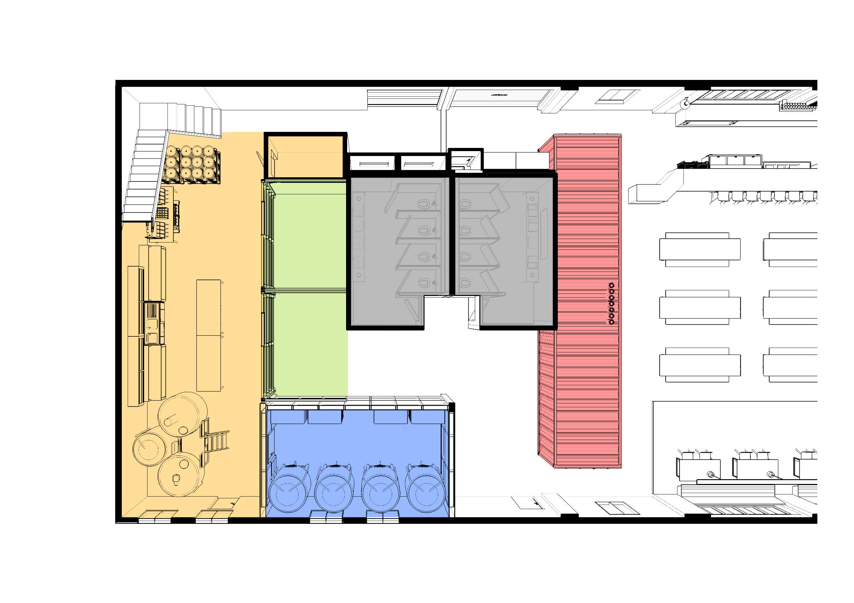 brewing area, restrooms, and cellar