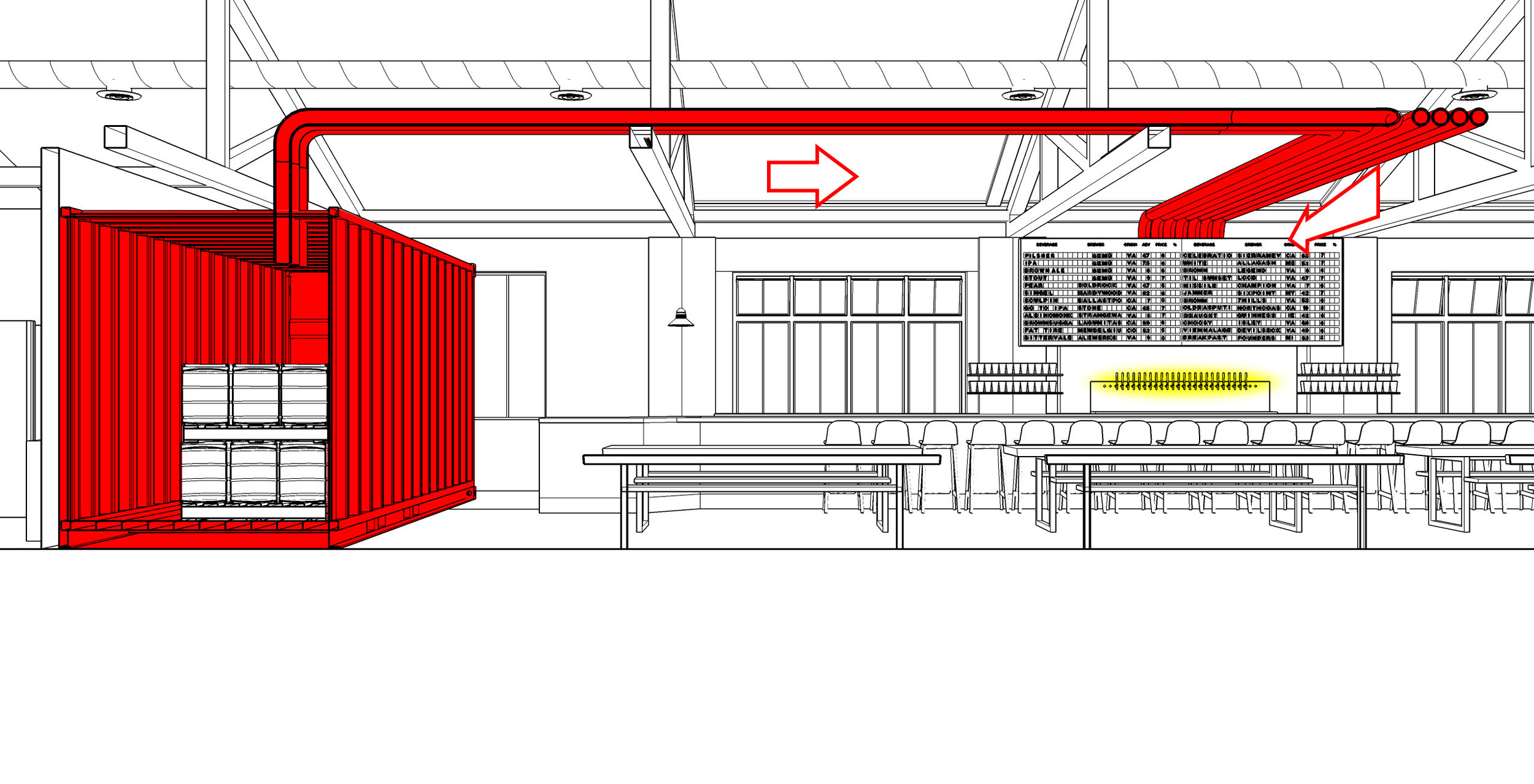 shipping container keg room and draft lines