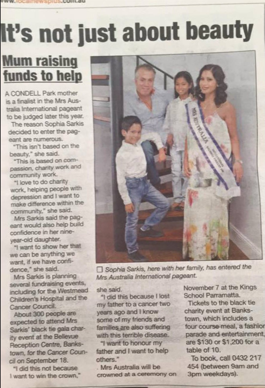 Mrs Australia Raising Money