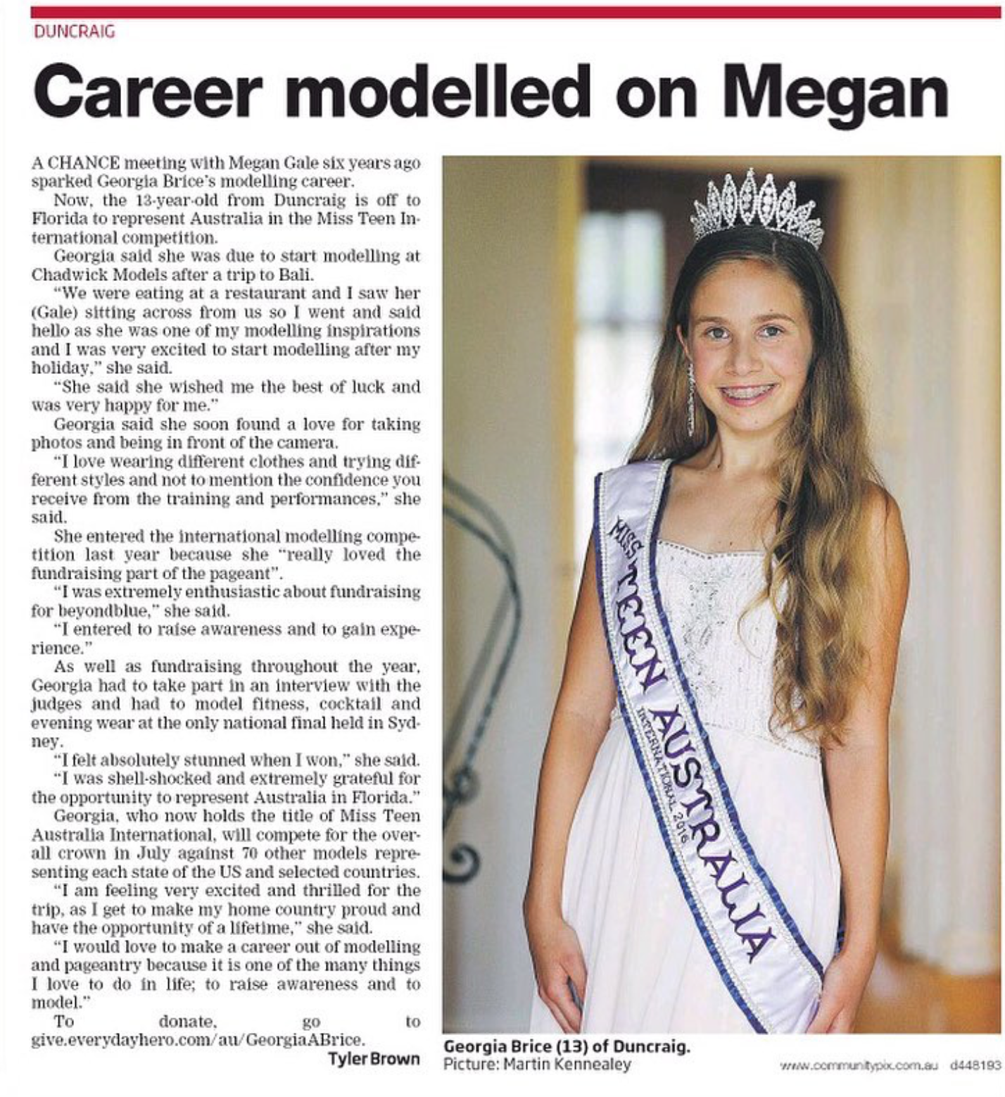 Georgia Brice Miss Teen Australia